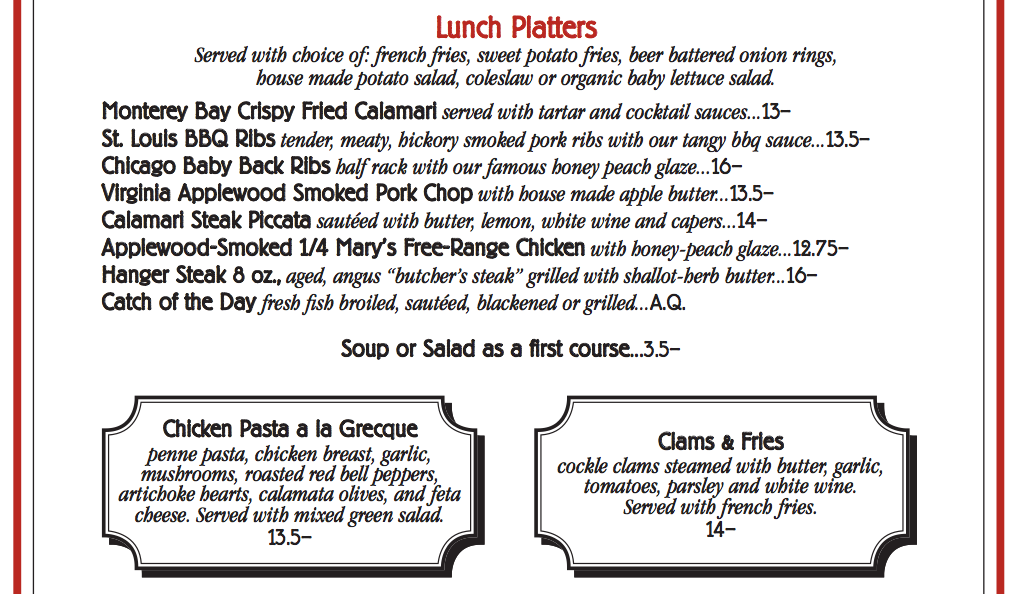Lunch Menu - Platters