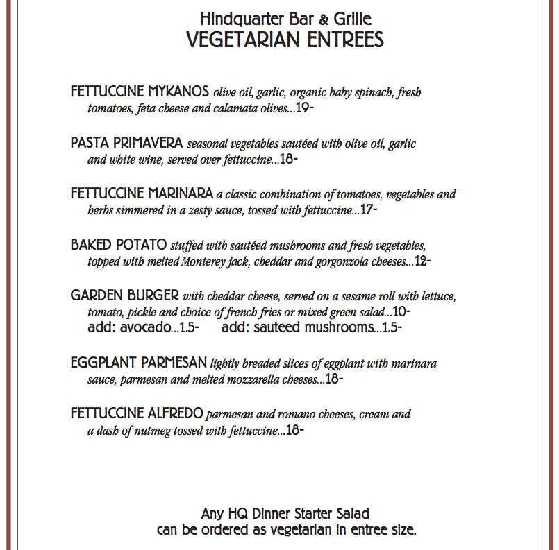 Vegitarian Menu