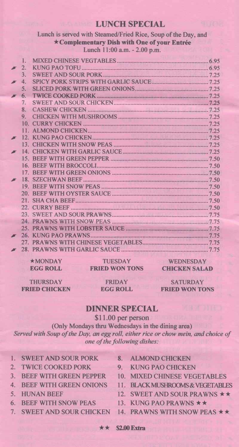Scotts Valley Chinese Cuisine Menu - Lunch Special Dinner Special